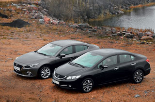 Тест-драйв Honda Civic, Mazda 3